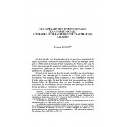 Les impérativités internationales de la norme sociale : exemple... - PATATUT
