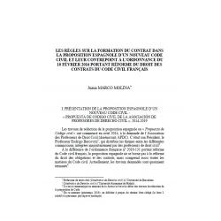 Les règles sur la formation du contrat dans la proposition espagnole d'une nouveau code civil - MARCO MOLINA