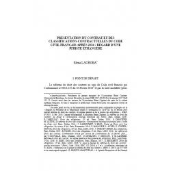 Présentation du contrat et des classifications contractuelles du code civil français après 2016... - LAUROBA