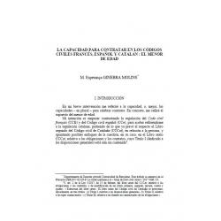 La capacidad para contratar en los codigos civiles frances, espanol y catalan : el menor de edad - GINEBRA MOLINS