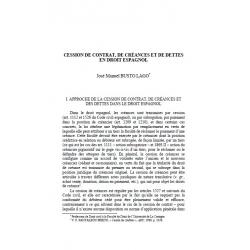 Cession de contrat, de créances et de dettes en droit espagnol - BUSTO LAGO