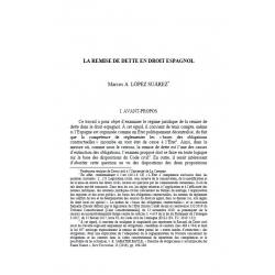 La remise de dette en droit espagnol - A. LOPEZ SUAREZ