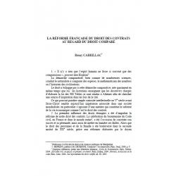 La réforme française du droit des contrats au regard du droit comparé - CABRILLAC