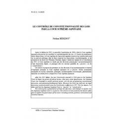 Le contrôle de constitutionnalité des lois par la Cour suprême japonaise - BERIDOT