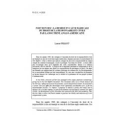 """""""Tort reform"""" : la remise en cause radicale du droit de la responsabilité civile par la doctrine anglo-américaine -FRIANT"""