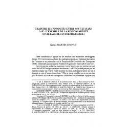 """Chapitre III : porosité entre """"soft"""" et """"hard law"""" : l'exemple de la responsabilité sociétale des entreprises - MARTIN-CHENUT"""