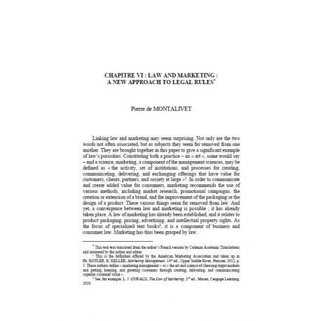 Chapitre VI : law and marketing : a new approach to legal rules - DE MONTALIVET