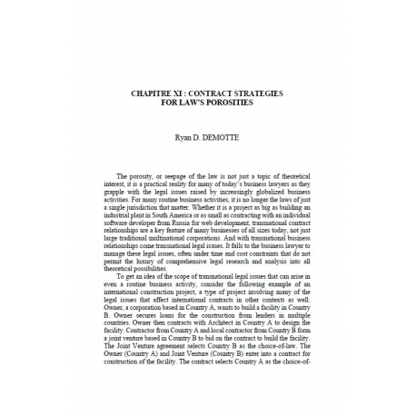 Chapitre XI : Contract strategies for law's porosities - D. DEMOTTE