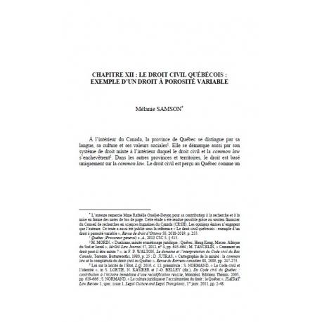 Chapitre XII : le droit civil québécois : exemple d'un droit à porosité variable - SAMSON