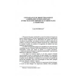 Connaissance du droit étranger et coopération internationale : entre nécessité impérieuse et difficultés à surmonter - NOURISSAT