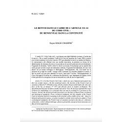 Le renvoi dans le cadre de l'article 311-14 du Code civil : du renouveau dans la continuité - HAGE CHAHINE