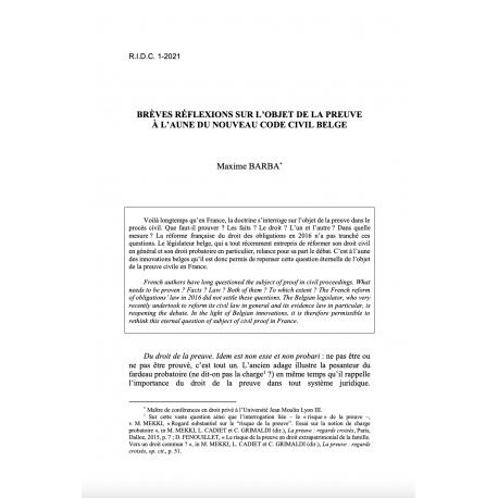 Brèves réflexions sur l'objet de la preuve à l'aune du nouveau Code civil belge - BARBA