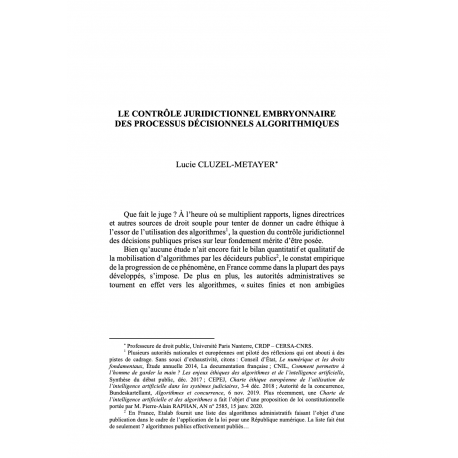 Le contrôle juridictionnel embryonnaire des processus décisionnels algorithmiques - CLUZEL-METAYER