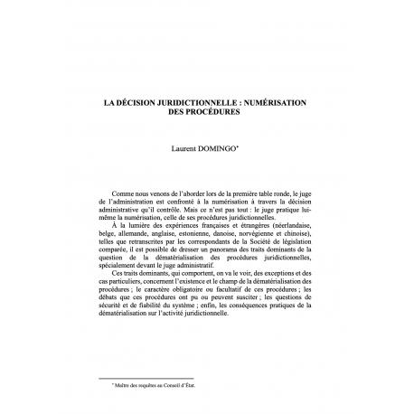 La décision juridictionnelle : numérisation des procédures - DOMINGO
