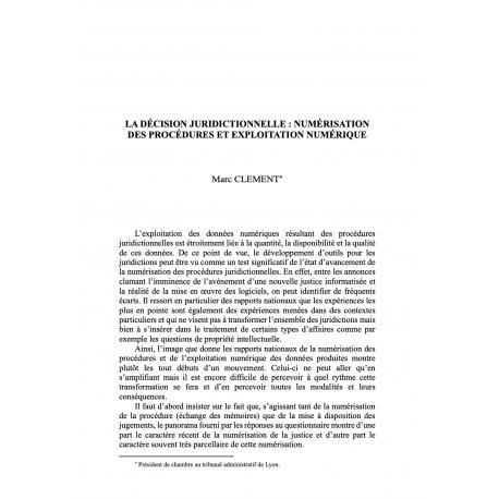 La décision juridictionnelle : numérisation des procédures et exploitation numérique - CLEMENT