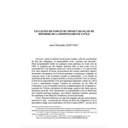 Les lignes de force du projet français de réforme de la responsabilité civile - SAINT-PAU