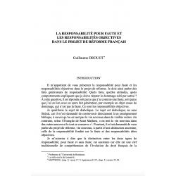 La responsabilité pour faute et les responsabilités objectives dans le projet de réforme français - DROUOT
