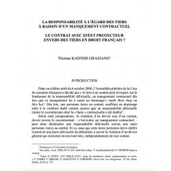 La responsabilité à l'égard des tiers à raison d'un manquement contractuel (...) - KADNER GRAZIANO
