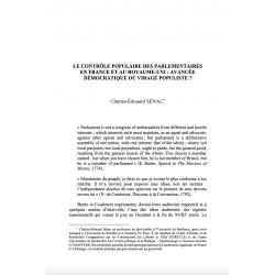 Le contrôle populaire des parlementaires en France et au Royaume-Uni (...) - SENAC