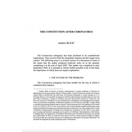The constitution after Coronavirus - BLICK