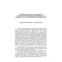 """L'universalité de la """"Déclaration Universelle des Droits de l'Homme"""" en question (...) - MORON-PUECH et PETKOVA"""