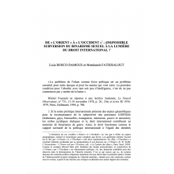 """De """"l'Orient"""" à """"l'Occident"""" : (im)possible subversion du binarisme sexuel (...) - BOSCO DAMOUS et FATHISALOUT"""