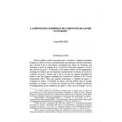 La définition juridique de l'identité de genre en Europe - HOLZER
