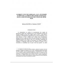"""Le droit à une vie familiale """"gay"""" en Europe, le rôle de la CEDH et des cours nationales (...) - RAGONE et VOLPE"""