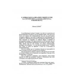 LE BOT - L'animal dans la relation croisée entre la Constitution, la législation et la jurisprudence