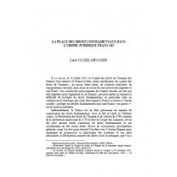 CLUZEL-MÉTAYER - La place des droits fondamentaux dans l'ordre juridique français