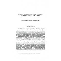 DÉLIYANNI-DIMITRAKOU - La place des droits fondamentaux dans l'ordre juridique hellénique