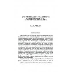 VRELLIS - Quelques réflexions sur l'influence des droits fondamentaux en droit international privé