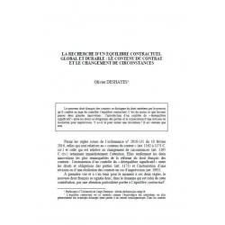 DESHAYES - La recherche d'un équilibre contractuel global et durable : le contenu du contrat et le changement de circonstances