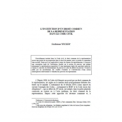 Wicker L Institution D Un Droit Commun De La Representation Dans Le Code Civil La Societe De Legislation Comparee