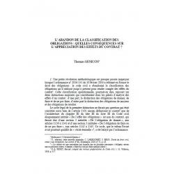 GENICON - L'abandon de la classification des obligations : quelles conséquences sur l'appréciation des effets du contrat ?