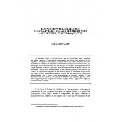 BOUCARD - Les sanctions de l'inexécution contractuelle : de l'art de faire du neuf avec du vieux