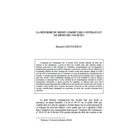Saintourens La Reforme Du Droit Commun Des Contrats Et Le Droit Des Societes La Societe De Legislation Comparee