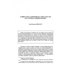 BRISSON - L'impact de la réforme du Code civil sur les contrats administratifs