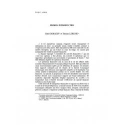 DERAEDT & LERICHE - Propos introductifs
