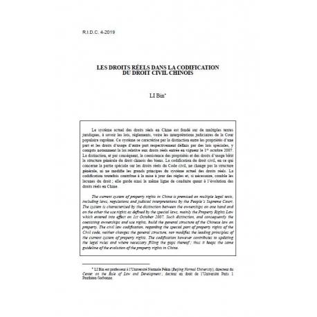 LI - Les droits réels dans la codification du droit civil chinois