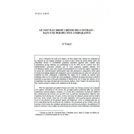 LI - Le nouveau droit chinois des contrats : dans une perspective comparative
