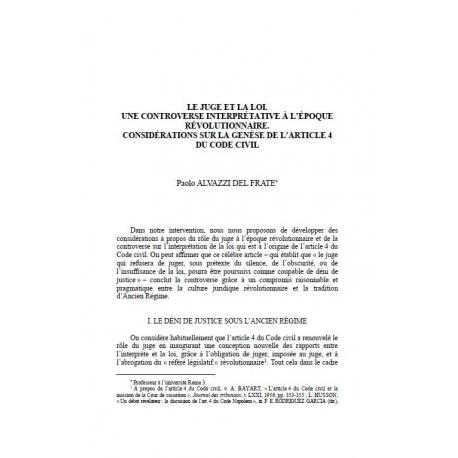 Le juge et la loi. Une controverse interprétative à l'époque révolutionnaire... - ALVAZZI DEL FRATE