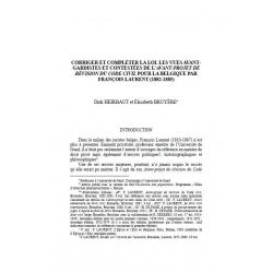 Corriger et compléter le loi. les vues avant-gardistes de l'avant-projet de révision du Code civil... - HEIRBAUT & BRUYERE