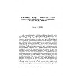 Humphrey c. Cassin. La controverse sur la paternité de la déclaration universelle des droits de l'homme - MATHIEU