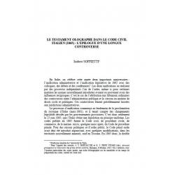 Le testament olographe dans le code civil italien ( 1865) : l'épilogue d'une longue controverse - SOFFIETTI