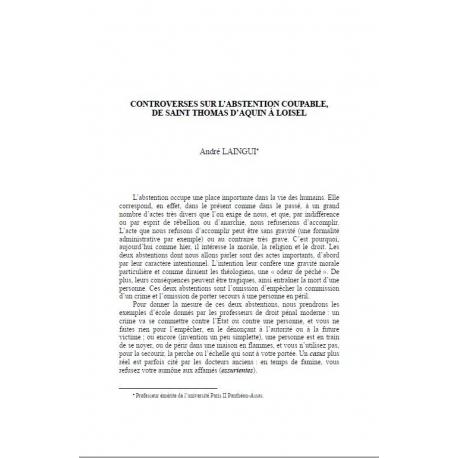 Controverses sur l'abstention coupable de Saint Thomas D'Aquin à Loisel - LAINGUI