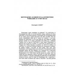 Montesquieu et la controverse nobiliaire au XVIIIème siècle - CAMBY