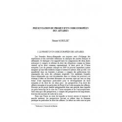 Présentation du projet d'un code européen des affaires - SCHULZE