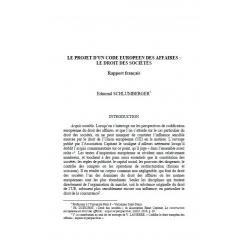Le projet d'un code européen des affaires : le droit des sociétés - rapport français - SCHLUMBERGER
