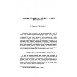 Le code européen des affaires - le droit des sociétés - TEICHMANN